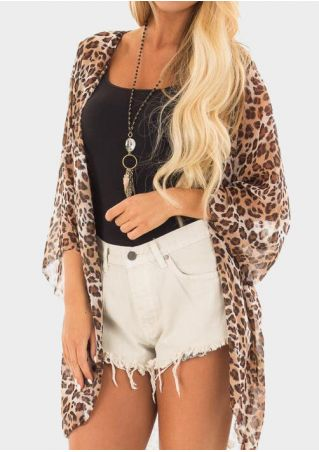 Leopard Printed Three Quarter Sleeve Cardigan without Necklace -Leopard