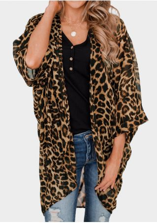 Leopard Printed Chic Cardigan without Necklace -Coffee