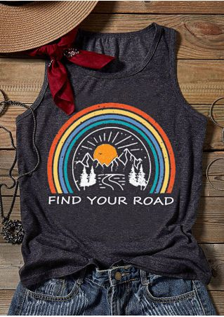 Find Your Road Rainbow Tank - Dark Gray