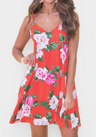 Floral Deep V-Neck Mini Dress - Red