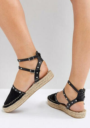 Solid Ankle Strap Round Toe Platform Sandals - Black