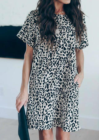 Leopard Printed Pocket Mini Dress - Leopard