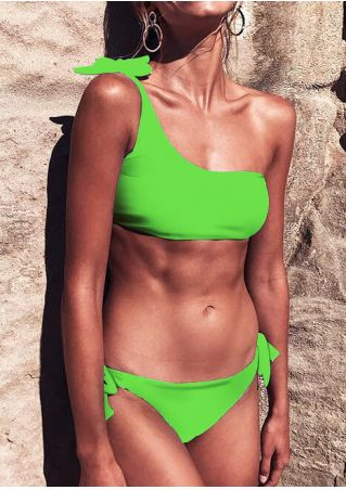 Solid Tie Sexy Bikini Set - Fluorescent Green