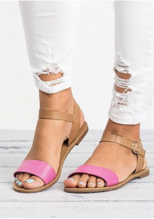 Summer Ankle Strap Flat Sandals - Peach Red