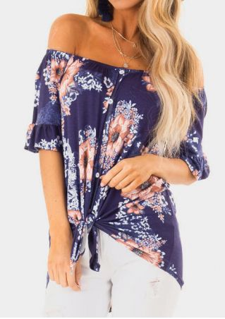 Floral Ruffled Off Shoulder Blouse without Necklace - Multicolor