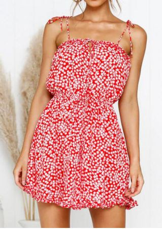 Floral Tie Backless Mini Dress - Red