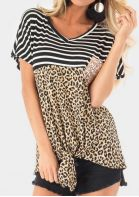 Leopard Printed Sequined Tie Blouse - Leopard