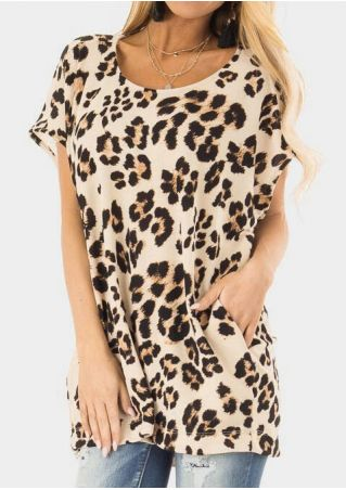 Leopard Printed Pocket Blouse without Necklace- Leopard