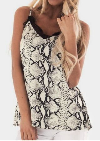 Snake Skin Printed Lace Splicing Camisole - Black