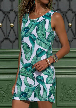 Leaf Printed Sleeveless Mini Dress - Green