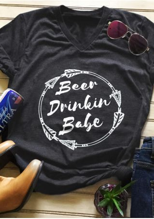 Beer Drink' Babe T-Shirt Tee - Dark Gray