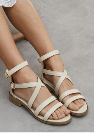 Solid Buckle Strap Flat Sandals - Khaki