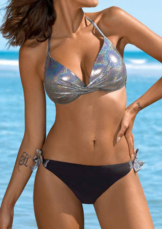 Splicing Twist Halter Bikini Set - Silver