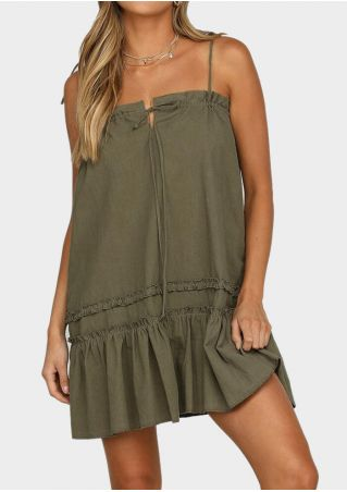 Solid Tie Spaghetti Strap Mini Dress - Army Green