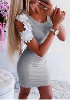 Flower Splicing Cold Shoulder Mini Dress -Gray