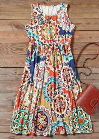 Mandala Pocket Sleeveless Mini Dress - Multicolor