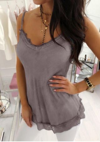 Solid Lace Splicing Camisole without Necklace - Gray