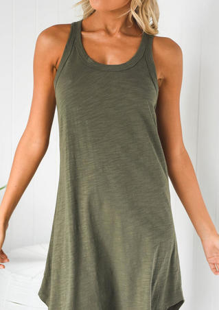 Solid Sleeveless Mini Dress - Army Green