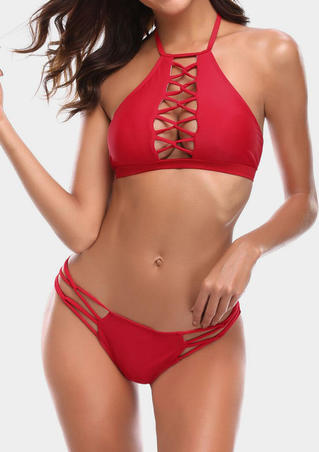 Solid Hollow Out Halter Bikini Set -Red