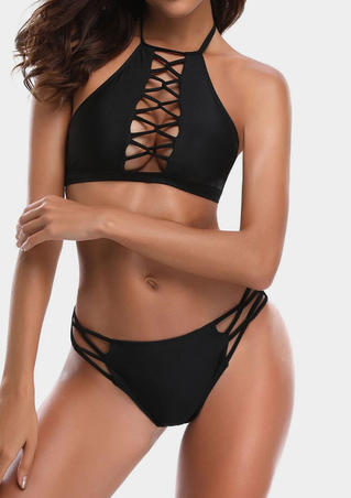 Solid Hollow Out Halter Bikini Set - Black