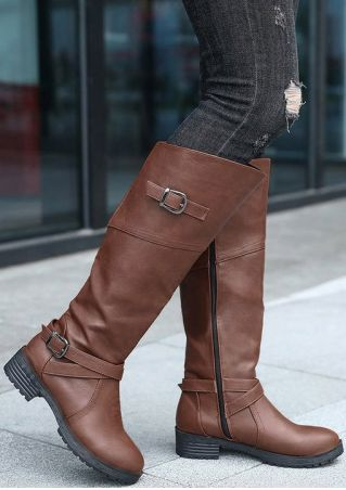 Solid Buckle Round Toe Boots