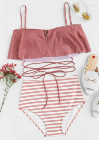 Striped Ankle Wrap Bikini Set