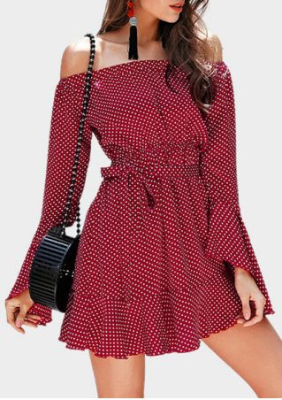 Polka Dot Off Shoulder Mini Dress - Red