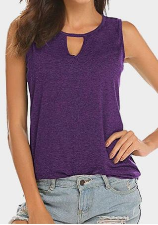 Solid Hollow Out Tank - Purple