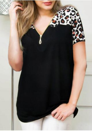 Leopard Printed Zipper Blouse -Black