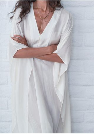 Solid Deep V-Neck Maxi Dress without Necklace -White