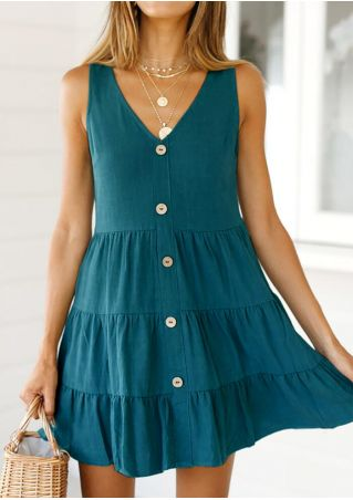 Solid Deep V-Neck Mini Dress without Necklace - Dark Green