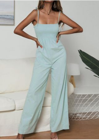 Solid Spaghetti Strap Jumpsuit - Green