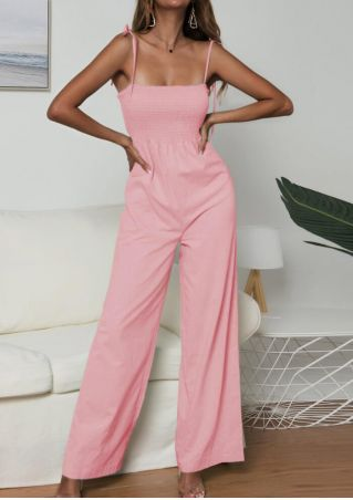 Solid Spaghetti Strap Jumpsuit - Pink