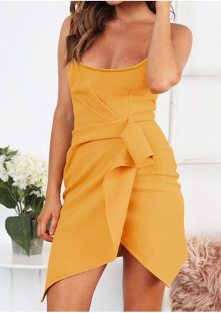 Solid Ruffled Mini Dress - Yellow