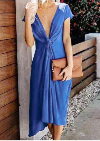 Solid Knot Deep V-Neck Casual Dress - Blue
