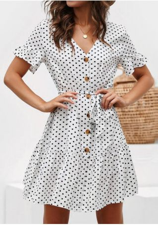 Polka Dot Button Mini Dress without Necklace - White