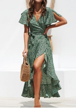 Floral Ruffled V-Neck Maxi Dress without Necklace - Green
