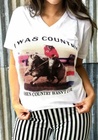 I Was Country T-Shirt Tee - White