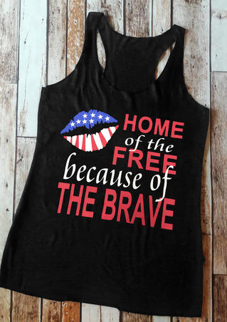 Home Of The Free Because Of The Brave Tank - Black