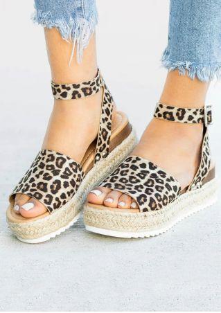 Buckle Strap Espadrille Wedge Sandals - Leopard