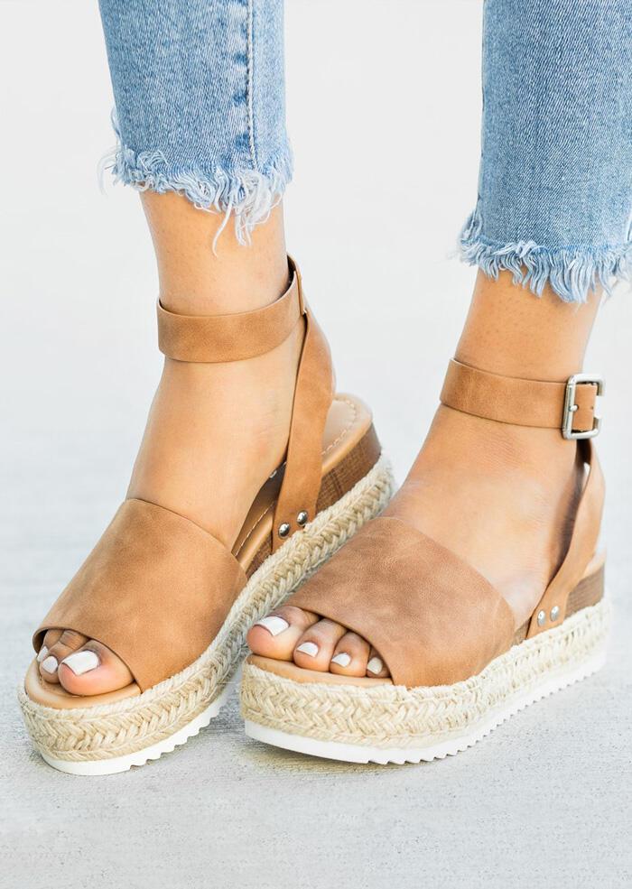 Womens Ladies High Block Heel Platform Sandals Natural