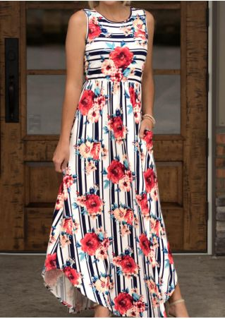 Floral Striped Pocket Maxi Dress - Stripe