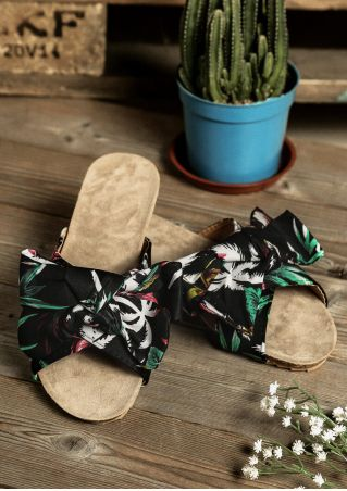 Leaf Bowknot Flat Slippers - Black