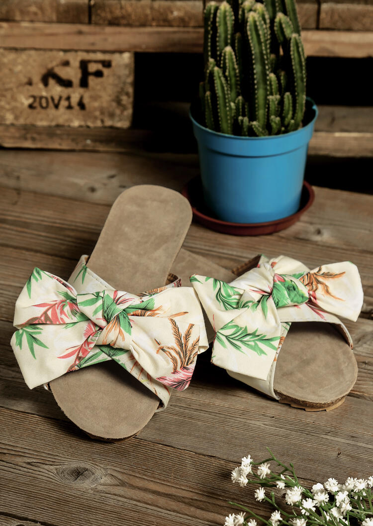 Leaf Bowknot Flat Slippers - Multicolor