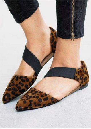 Leopard Printed Pointed Toe Flats - Leopard