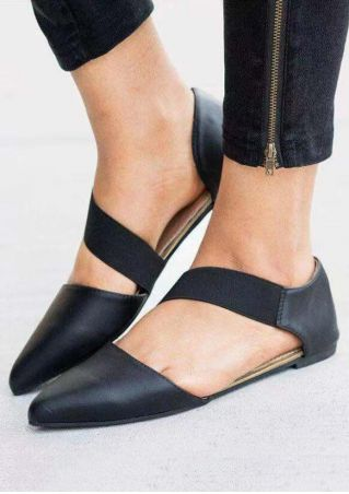Solid Pointed Toe Flats - Black