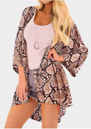 Snake Skin Printed Cardigan without Necklace - Brown