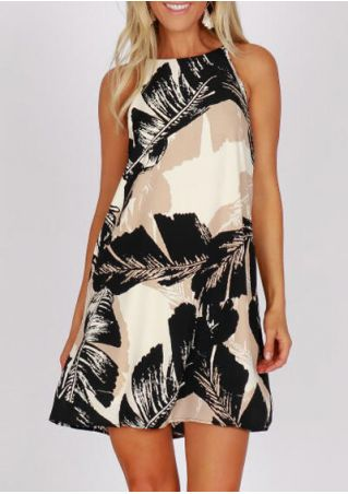 Leaf Printed Sleeveless Mini Dress - Black