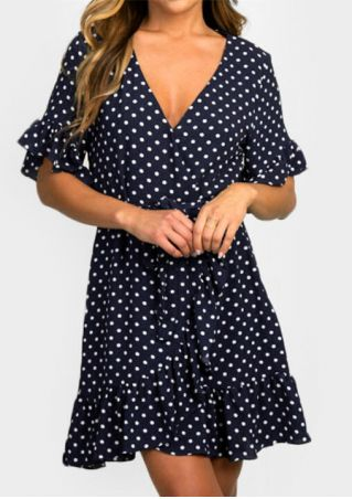Polka Dot Deep V-Neck Tie Mini Dress - Navy Blue