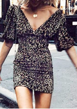 Leopard Printed Deep V-Neck Bodycon Dress without Necklace - Leopard